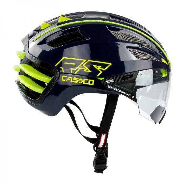 Helm Speedairo 2 RS in blau mit Visier im Profil