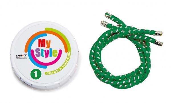 MyStyle Casco Streifen grün Reflektor