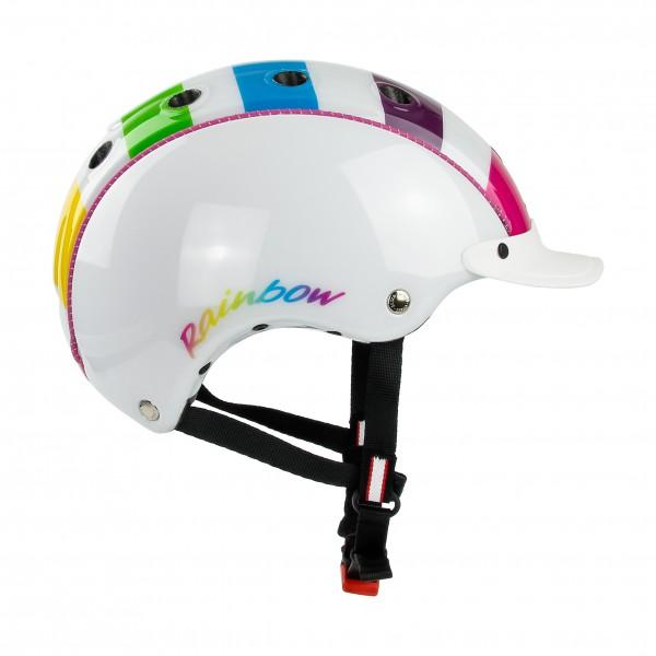 Kinderfahrradhelm Mini 2 für Babys und Kinder in der Farbe weiss mit Regenbogen
